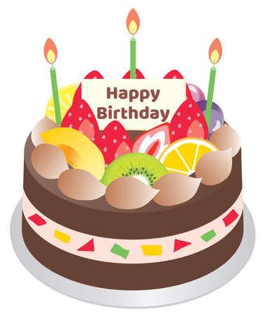 Birthday cake with fruit and chocolate cream