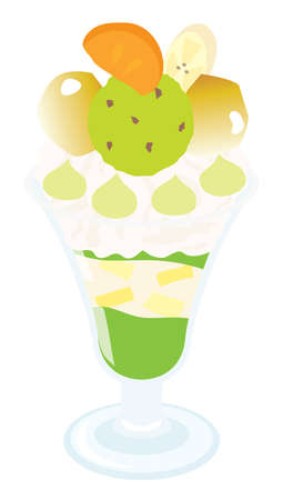 An illustration of marron green tea parfait Ilustração
