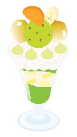 An illustration of marron green tea parfait Illustration