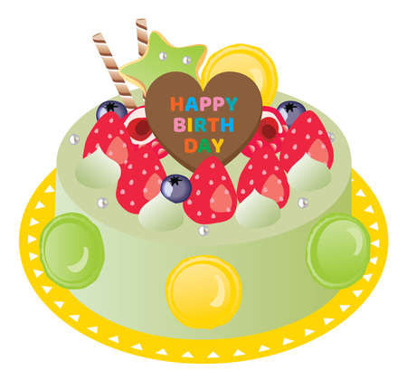 Birthday cake with macaroon and green tea
