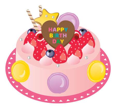 Birthday cake with macaroon and strawberry cream