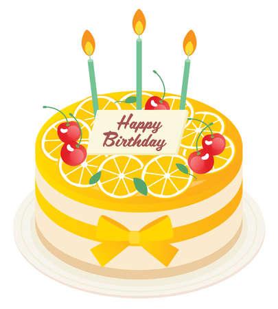 Birthday mousse cake of orange 向量圖像