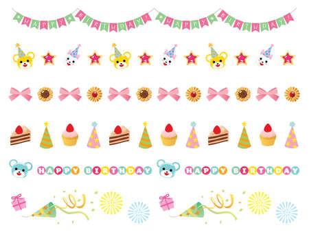 A line illustration set of birthday Illustration