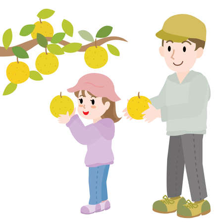 A parent and a child who do pear picking
