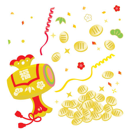 """Illustration of mallet of luck with Japanese letter. Translation: """"Fortune"""""""
