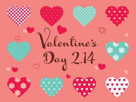 Various heart and Valentine's Day 2.14 text