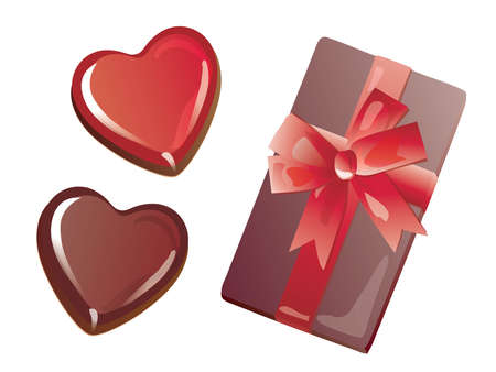 Set of the heart-shaped Valentine chocolate