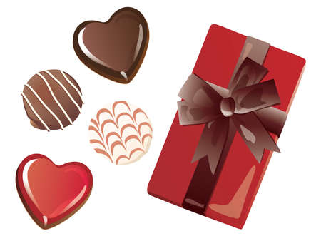 Set of the heart-shaped chocolate of Valentine's Day and the red box with the ribbon