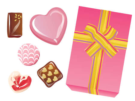 Set of the heart-shaped chocolate of Valentine's Day and the pink box with the ribbon  イラスト・ベクター素材