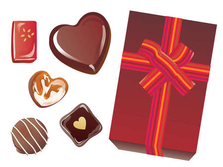 Set of the heart-shaped chocolate of Valentine's Day and the brown box with the ribbon