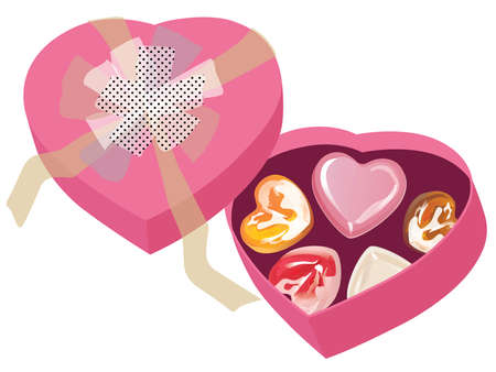Valentine chocolates in the heart-shaped pink box