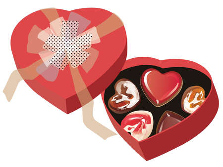 Valentine chocolates in the heart-shaped red box