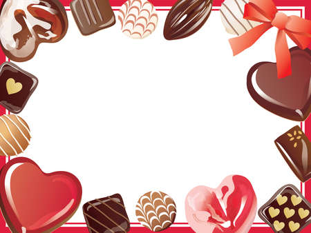 Frame illustration of the heart-shaped chocolate on Valentine's Day  イラスト・ベクター素材