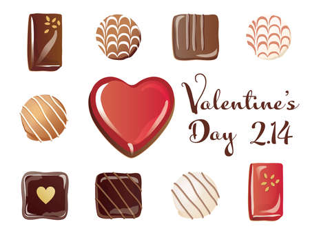 Set of the heart-shaped chocolates on Valentine's Day  イラスト・ベクター素材