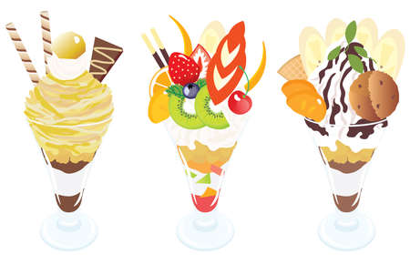 Set illustration of the parfaits of marron and chocolate and fruits.