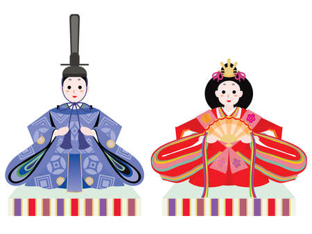 Hina doll of a male doll and a female doll of the Doll's Festival