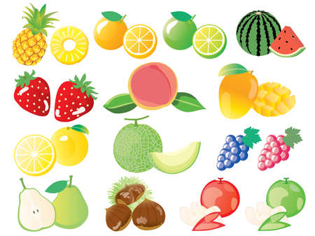 Set illustration of the fruit of watermelon, strawberry and the melon