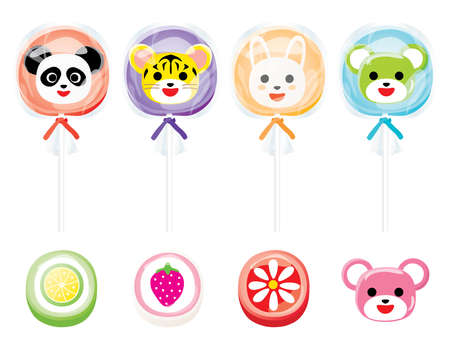 Illustration set of the animal candy of rabbit, panda, tiger and  bear