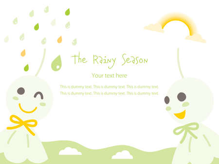 Card design of the sky, rain , rainbow of the rainy season and the green paper doll to which children pray for fine weather Stock Illustratie