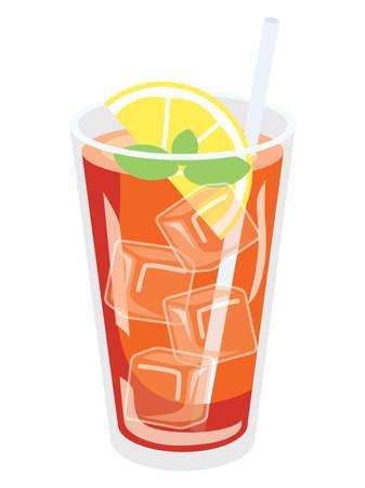 The iced lemon tea in the glass
