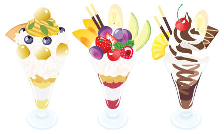 Set illustration of the parfaits of marron and chocolate and fruits
