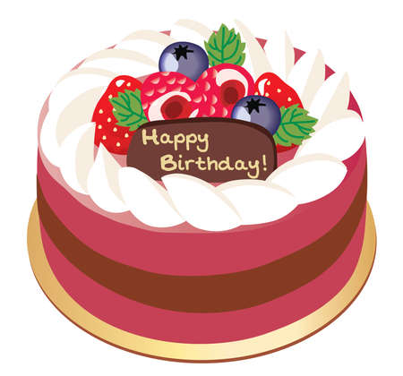 Illustration of the birthday cake with strawberry and raspberry