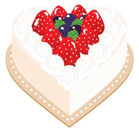 Heart shaped strawberry cake of fresh cream Illusztráció