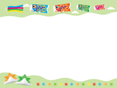 Frame illustration of carp streamers of Children's Day and the helmet of the origami