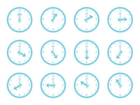 Illustration set of the simple blue clocks Stock Illustratie