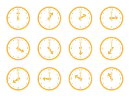 Illustration set of the simple orange clocks