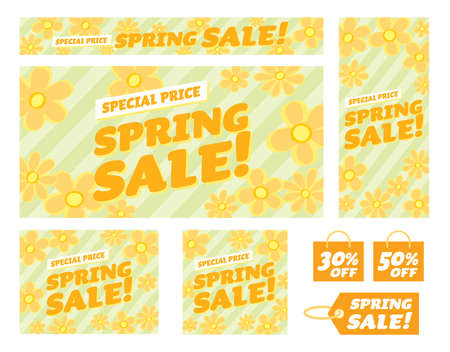 Floral banner illustration set of the spring sale