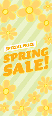 Floral banner illustration of the spring sale