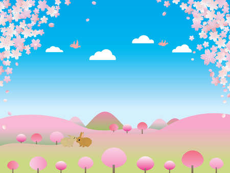Illustration of the scenery of the spring village forest where cherry trees bloomed in the full bloom