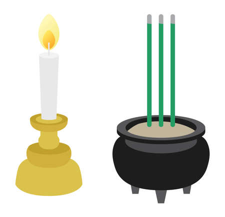 Illustration of the incense holder and the candlestick of Buddhism