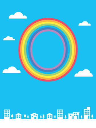 letter of of the rainbow in the blue sky and cityscape background