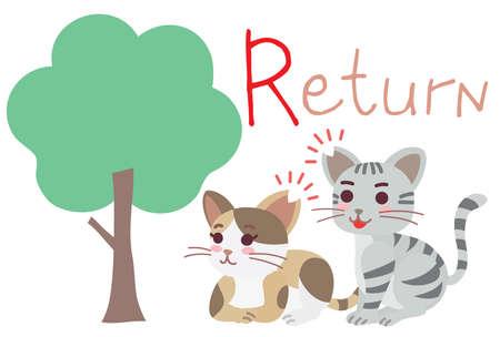 "Illustration of the regional cat plan of ""Return"" Vetores"