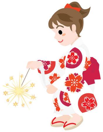 Girl dressed in the yukata doing toy fireworks