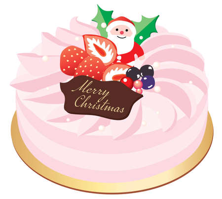 A pink Christmas cake with the decoration of Santa