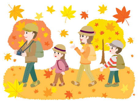 Illustration of the family doing maple-tree viewing