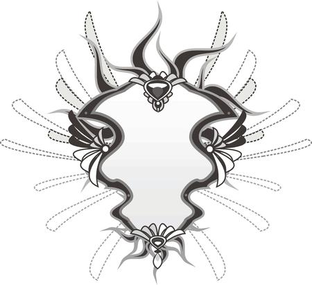 ornamentals: Mirror banner with floral ornamentals