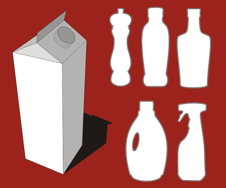 Illustration of different bottles silhouettes and 3d milk box graphic Stock Vector - 1808449