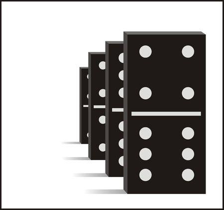 topple: Four black dominos graphic illustration Stock Photo