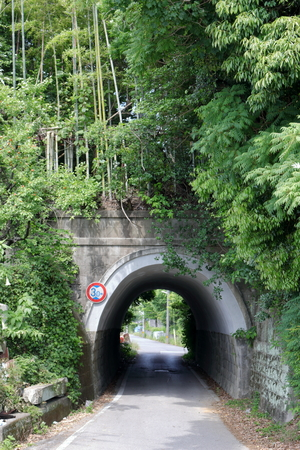 Short tunnel of Japanese landscape Urado Bay Stock Photo