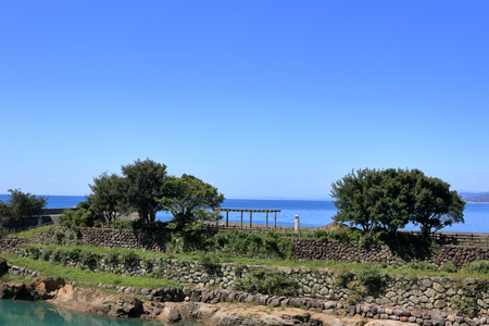 Panoramic view from Oyama station (Kochi Prefectural Aki city ioki fishing stone Crest) Stock Photo