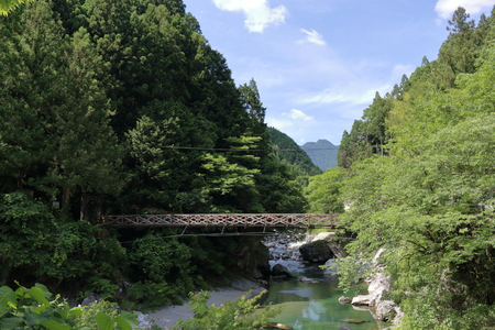A bridge across a valley (the niyodogawa Town)