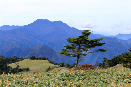 Look at the Mount Ishizuchi from Kamegamori mountain trail (Ehime Prefecture)