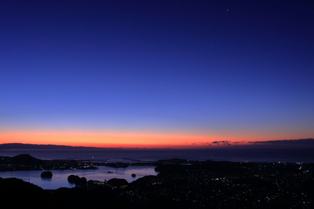 Before dawn of Tosa Bay and Urado Bay (Kochi Prefecture)