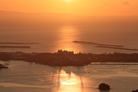 Tosa bay and Urado Bay wrapped in light (Kochi prefecture)