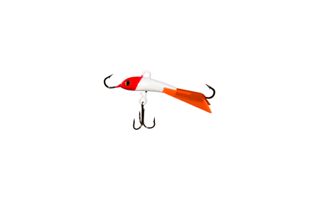 Winter bait balancer for predatory fish. Red-headed balancer for catching fish from the ice. Isolated on white background.