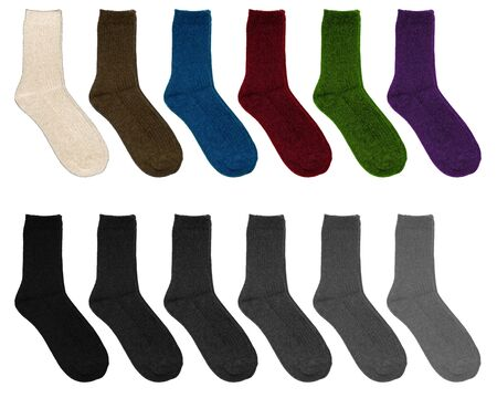 Socks of different colors. Socks in two rows on a white background. Multicolor socks on white background.